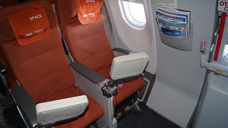 Space chairs with individual TV screens in the Airbus A330-200 Aeroflot