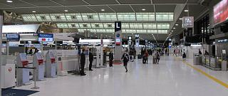 The check-in area in terminal 2 of airport Tokyo Narita