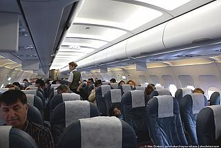 The cabin of the Airbus A320 Azerbaijan airlines