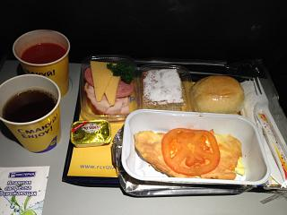 Food on the flight Astana-Kiev Ukraine International airlines