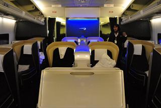 The First class cabin in Boeing-747-400 British Airways