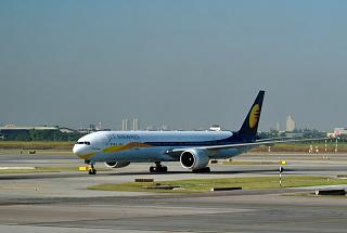 Boeing-777-300 of Jet Airways at the airport Bangkok Suvarnabhumi