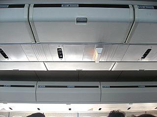 Luggage racks of the aircraft Boeing-747-300 Transaero