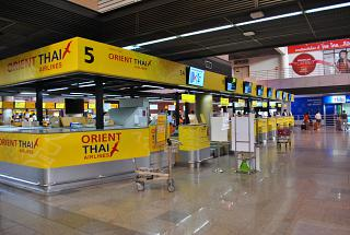 Front Desk of the airline Orient Thai Airlines in Bangkok airport don Muang