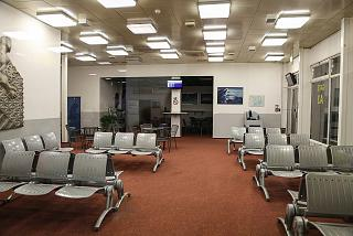 The waiting room in a clean area of the old terminal of Ostrava airport