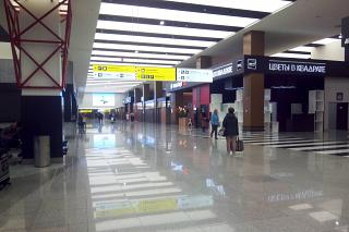 In the General arrivals area of terminal B of Sheremetyevo airport