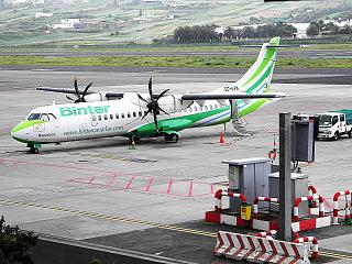 "The ATR 72 EC-LFA airline ""Binter Canarias"" in Tenerife airport"