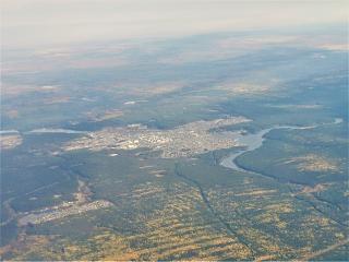 In flight over the city of Sysert in the Urals