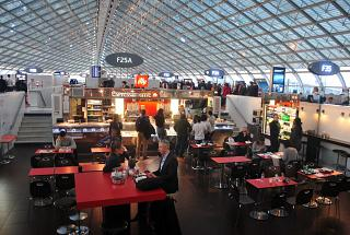 The food court in Concors F of terminal 2 of Paris airport Charles de Gaulle