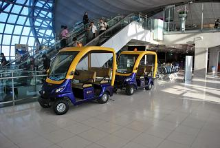 Electric cars at the airport Bangkok Suvarnabhumi