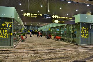 The stop of the Skytrain at terminal 3 of Changi airport Singapore