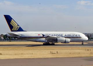 The Airbus A380 of Singapore airlines in London Heathrow airport