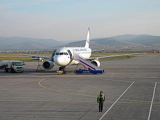 Airbus A320 Ural airlines at the airport of Ulan-Ude