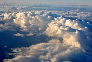 Cumulus clouds over France