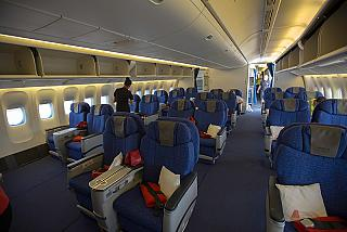 The business class cabin of the Boeing 777-200 Nordwind airlines