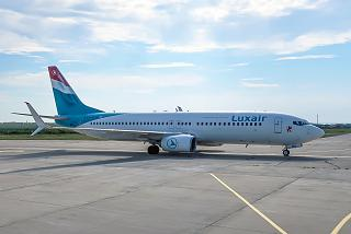 Boeing-737-800 of the airline Luxair at Burgas airport