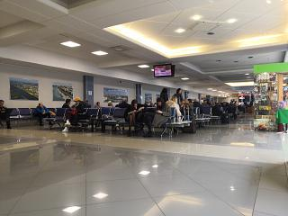 The waiting room in a clean area of the airport Omsk