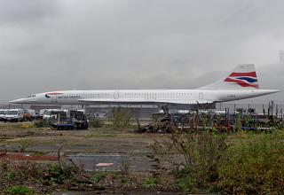 The airliner, Concorde G-BOAB at London Heathrow airport