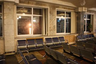 The waiting room at the airport of Yuzhno-Sakhalinsk