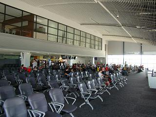 The waiting room in a clean zone of terminal 1, Krabi international airport