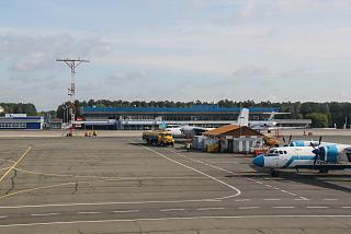The terminal of domestic airlines at the airport Krasnoyarsk Emelyanovo