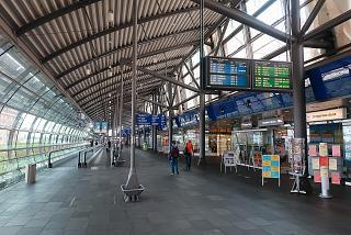 Pedestrian crossing between terminals at Leipzig Halle Airport