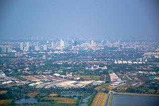 The view of Bangkok during takeoff from Suvarnabhumi airport