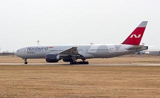 Boeing-777-200 of Nordwind Airlines on the taxiway of the airport of Irkutsk