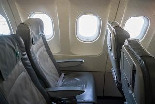 The passenger seats in the economy class in Airbus A321 Alitalia