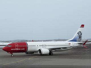The Boeing 737 MAX 8 EI-FYB airline Norwegian at Helsinki airport