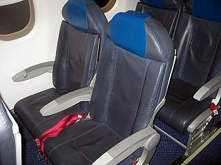 The passenger seats in the aircraft Embraer-190 airlines KLM Cityhopper