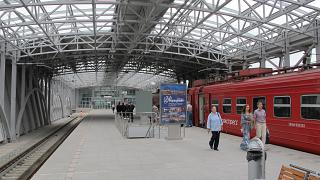 Aeroexpress train station at the airport of Vladivostok