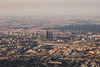Overlooking the business centre of Madrid during takeoff from Barajas airport