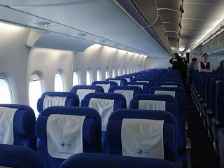 The economy class cabin Airbus A380 of China Southern Airlines