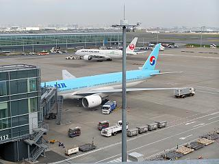 The platform at the international terminal 1 of the airport Tokyo Haneda