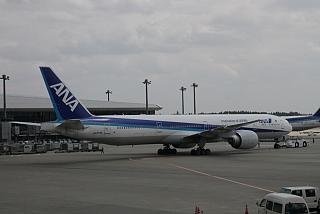 Boeing-777-300 of the airline at the airport ANA Tokyo Narita