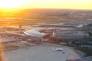 The Toronto Pearson international airport at sunset