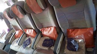 Seats of economy class Airbus A340-500 of Emirates airlines