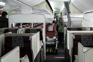 The passenger cabin of the business class in the Boeing-787-8 of airline JAL