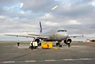 Airbus A320 of Aeroflot at the airport in Simferopol