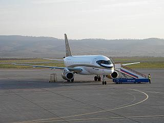 "Sukhoi Superjet-100 of airline ""Center-South"" at the airport of Ulan-Ude"