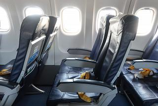 Passenger seats in the ATR-42-500 aircraft of NordStar airlines