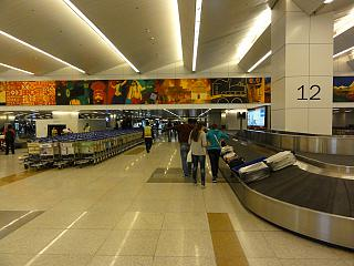 The baggage claim area at Delhi airport Indira Gandhi