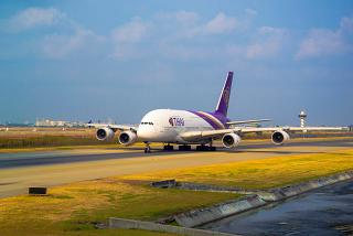 Airbus A380 Thai airlines at the airport Bangkok Suvarnabhumi