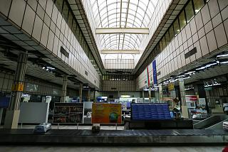 The baggage claim area in the old terminal of the airport of Burgas