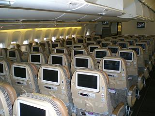 The cabin of the aircraft Boeing-777-300 Etihad Airways