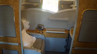 The first class cabin on the Boeing-777-200 Emirates airlines