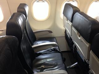 The passenger seats in the plane, an Airbus A320 Tiger Airways