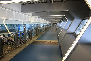 The transition into the arrivals hall at the airport Port