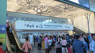 The entrance to the international sector low-cost terminal KLIA2 airport in Kuala Lumpur